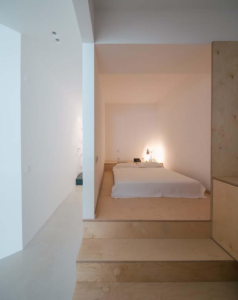 open slaapkamer multiplex vloer