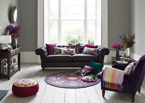 Paars grijs kleurinspiratie woonkamer