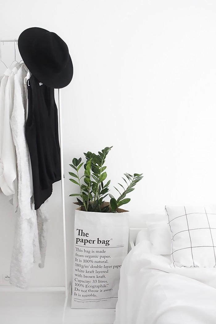Papieren opbergzak planten
