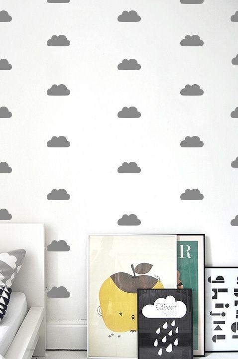 Patroon muursticker wolkjes