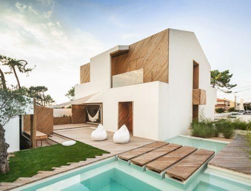 Resort tuin met zwembad