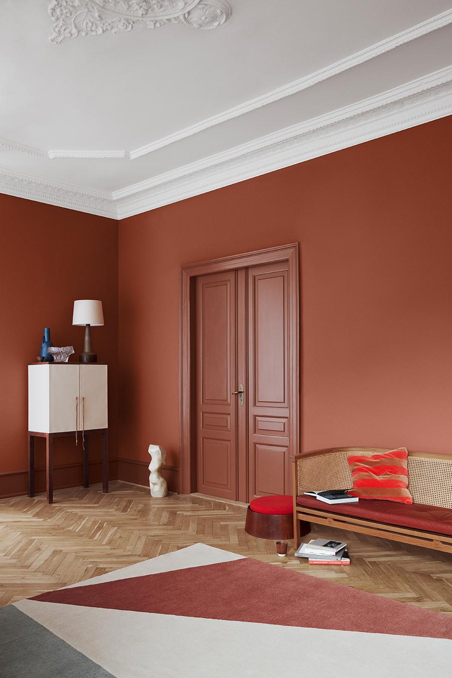 rode muurkleur woonkamer