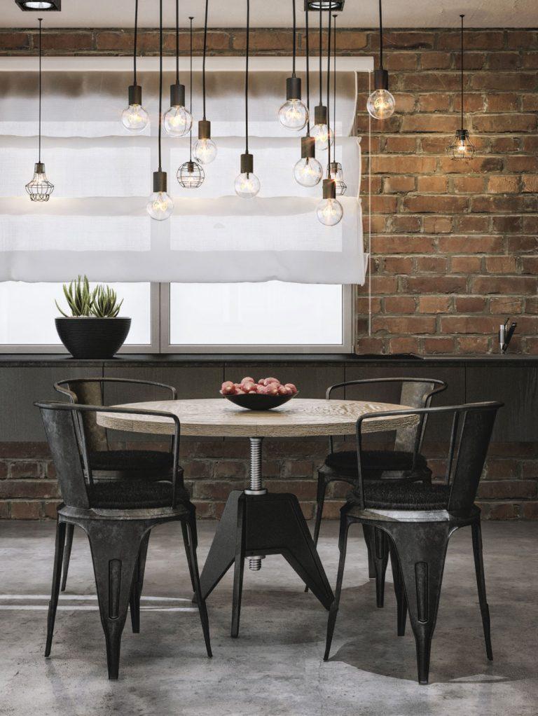 ronde-eettafel-industriele-eetkamerstoelen