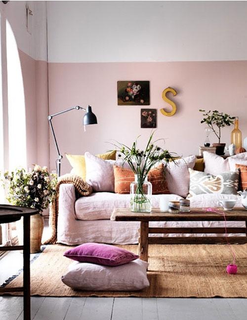 Roze kleurinspiratie woonkamer