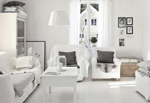 Scandinavisch witte woonkamer