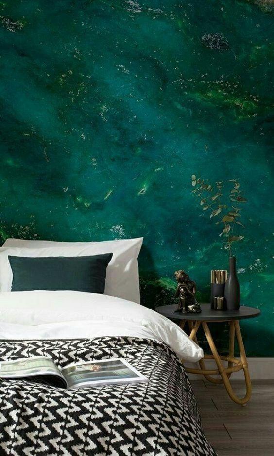 slaapkamer behang groen