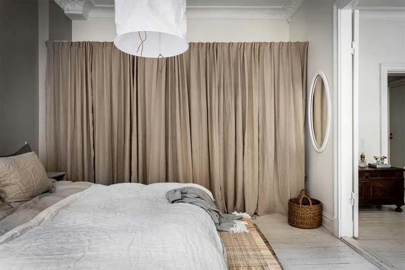 slaapkamer decoratie ideeën gordijnen kledingkast