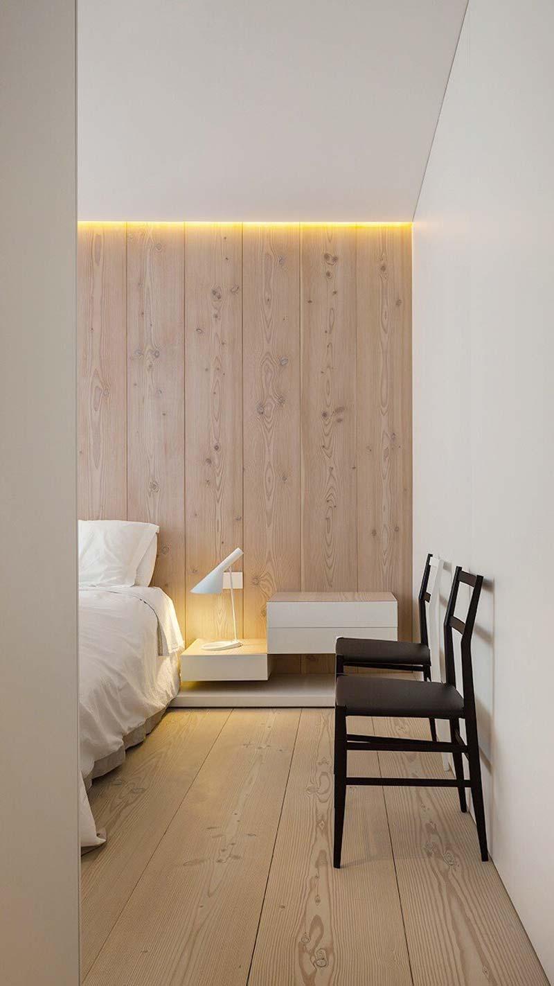 slaapkamer decoratie ideeën houten wandbekleding