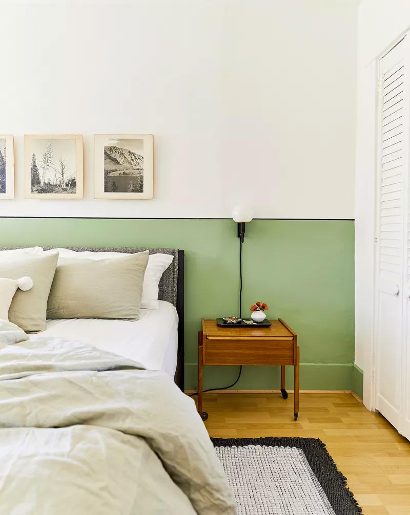 slaapkamer decoratie ideeën lambrisering verven
