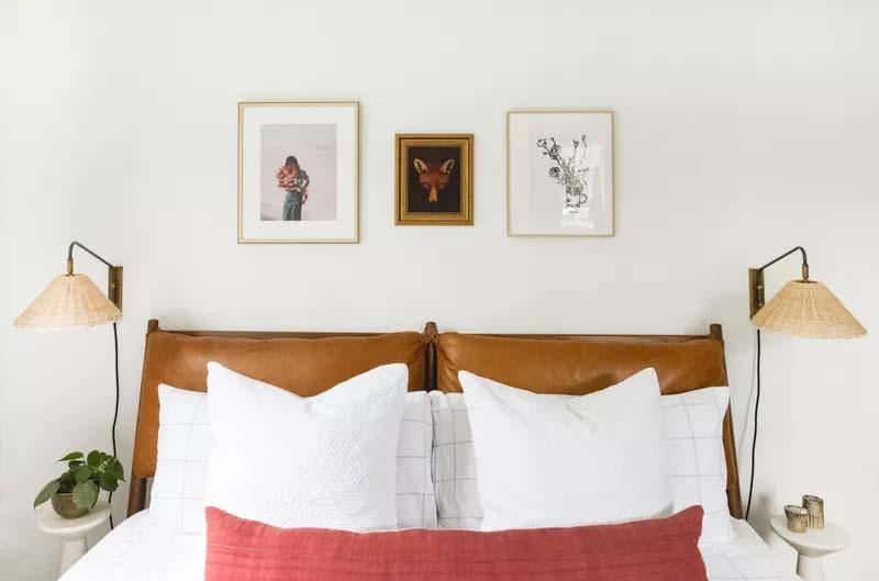 slaapkamer decoratie ideeën lijsten boven bed