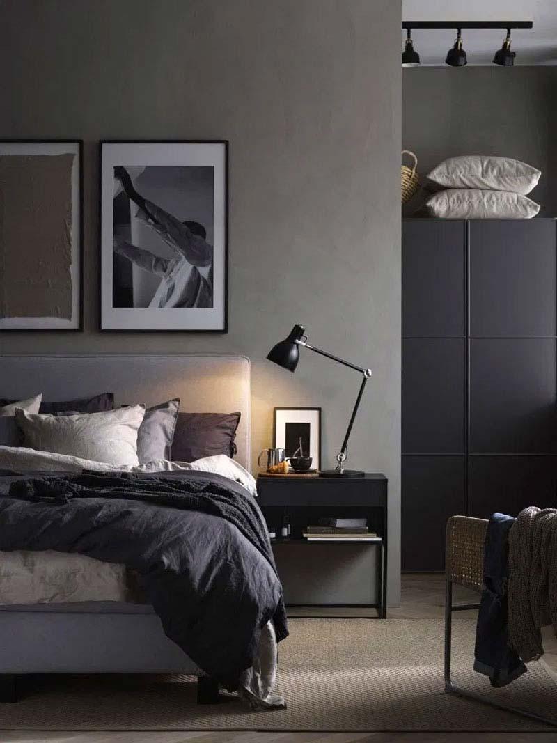 slaapkamer decoratie ideeën opbergen op de kast