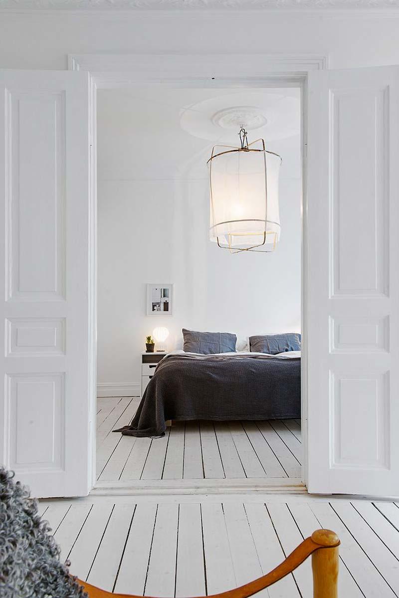 slaapkamer decoratie ideeën witte houten vloer verven