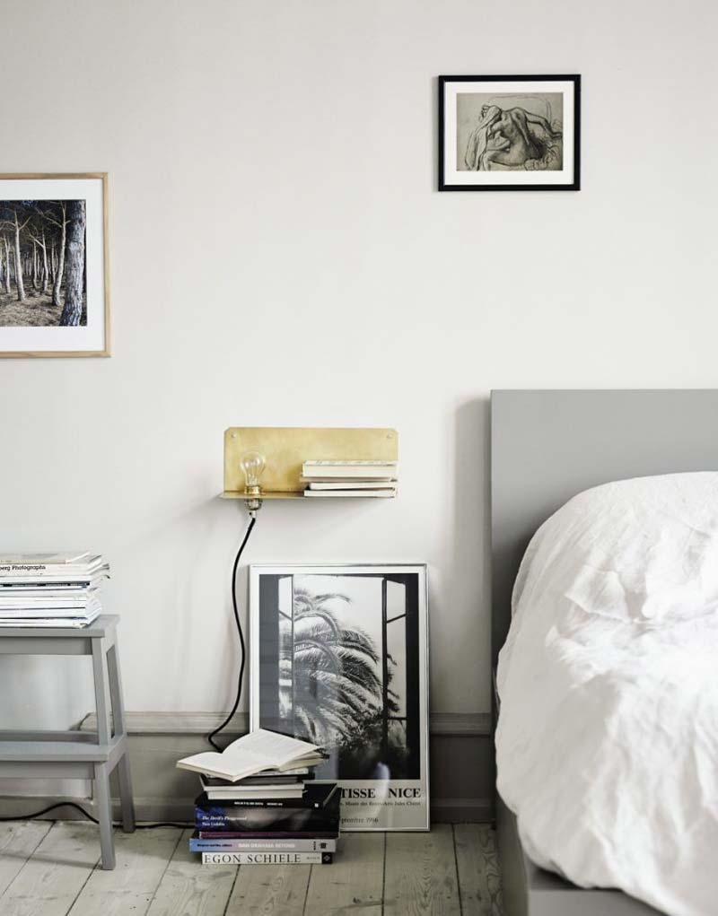 slaapkamer decoratie ideeen zwevend nachtkastje met lamp frama
