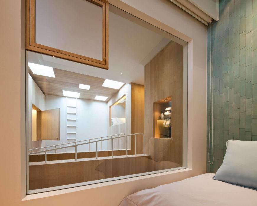slaapkamer doorkijk muur betegelen wandtegels