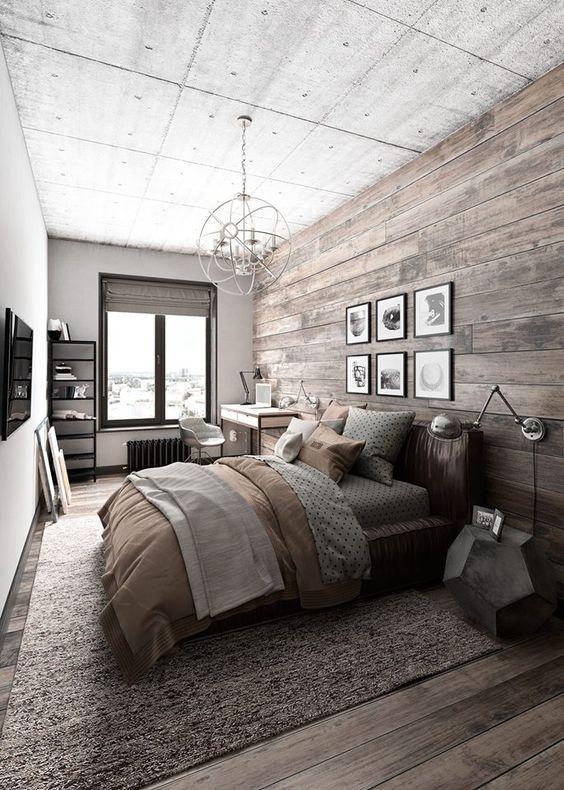 Slaapkamer houten wandbekleding stoer