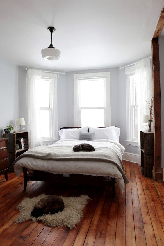 slaapkamer houten vloer vintage