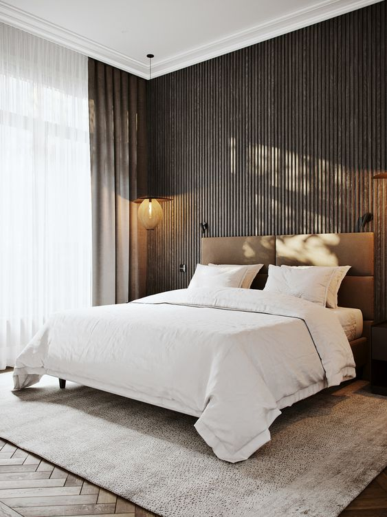 Slaapkamer houten wandbekleding ideeën