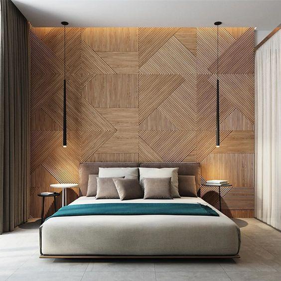 Slaapkamer houten wandbekleding luxe