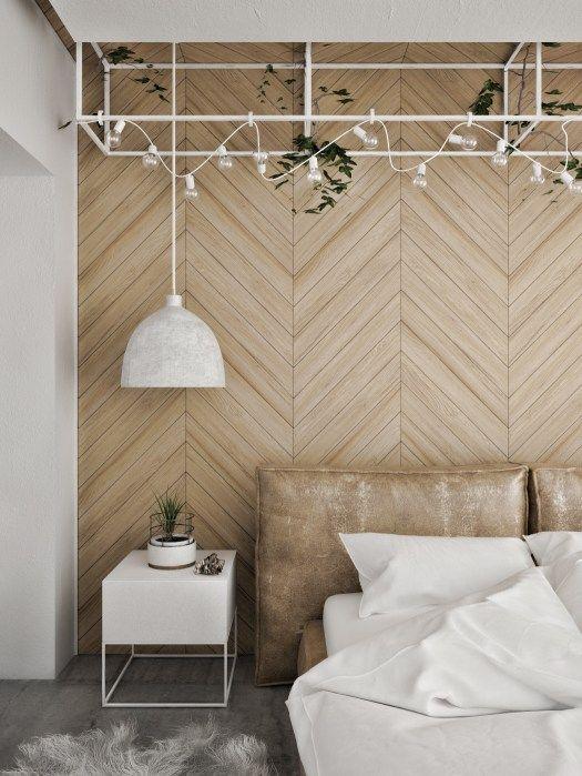 Slaapkamer houten wandbekleding visgraat