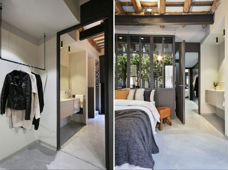 slaapkamer met open badkamer