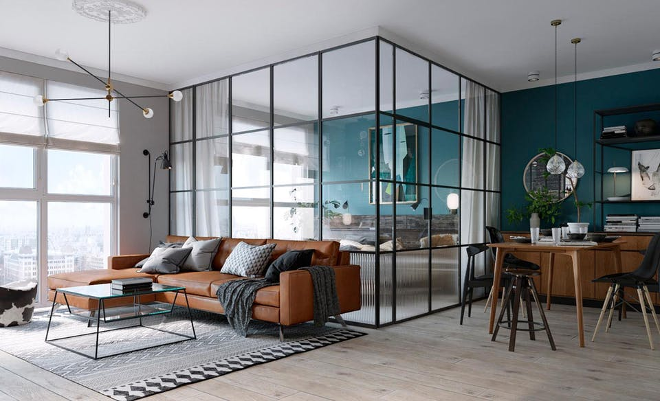 Slaapkamer omgeven door glazen wanden