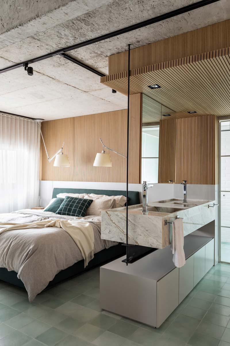 slaapkamer open badkamer