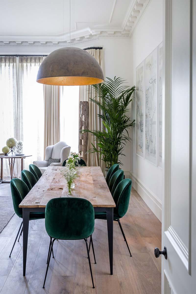 smaragdgroene eetkamerstoelen