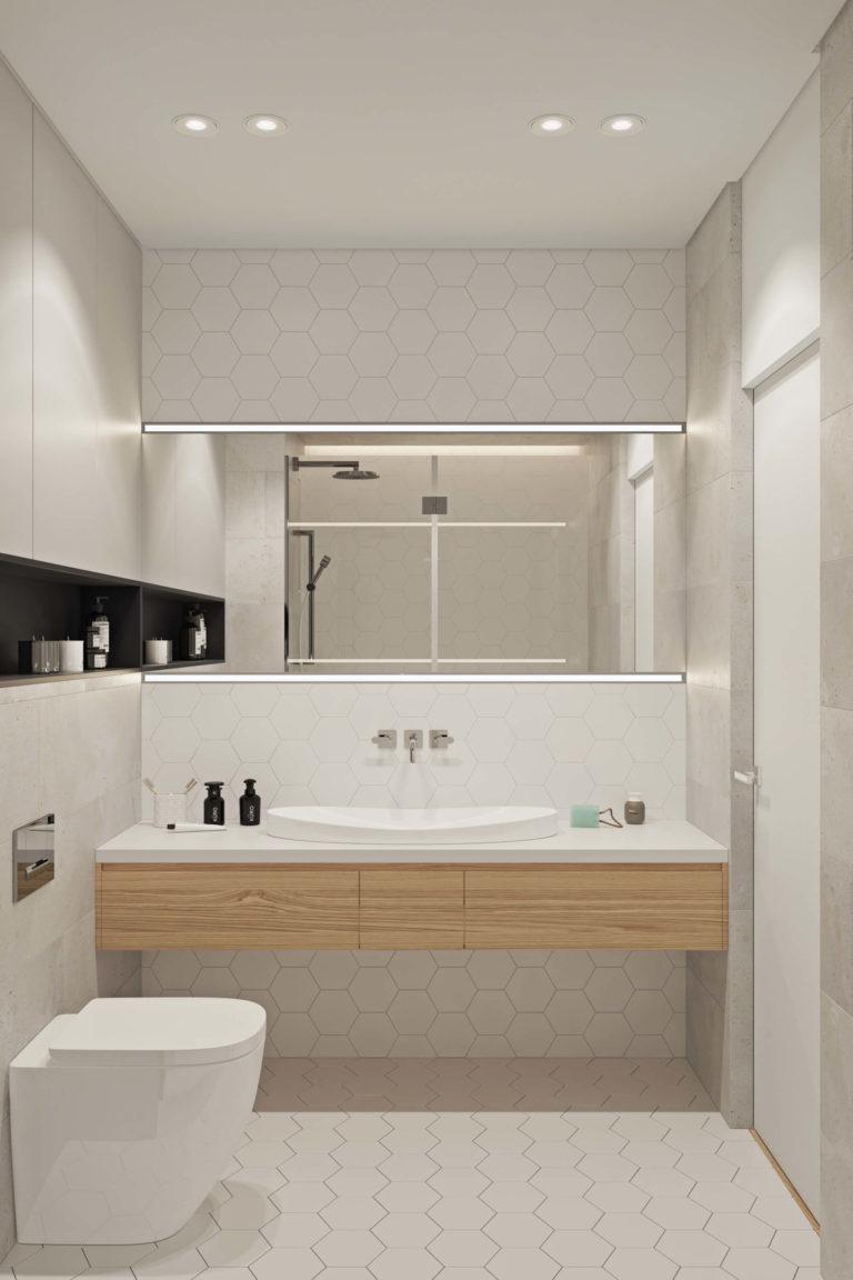 Een alternatief is een staand toilet in combinatie met een inbouwreservoir, zoals in deze mooie moderne badkamer. Klik hier om meer foto's te bekijken.