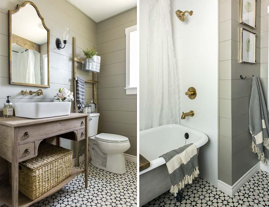 In sommige badkamers, zoals deze rustieke landelijke badkamer, is het juist heel mooi om te kiezen voor een klassiek staand toilet. Klik hier om meer foto's te bekijken.
