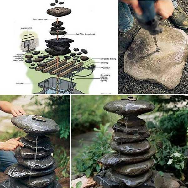 Stapels stenen waterval tuin