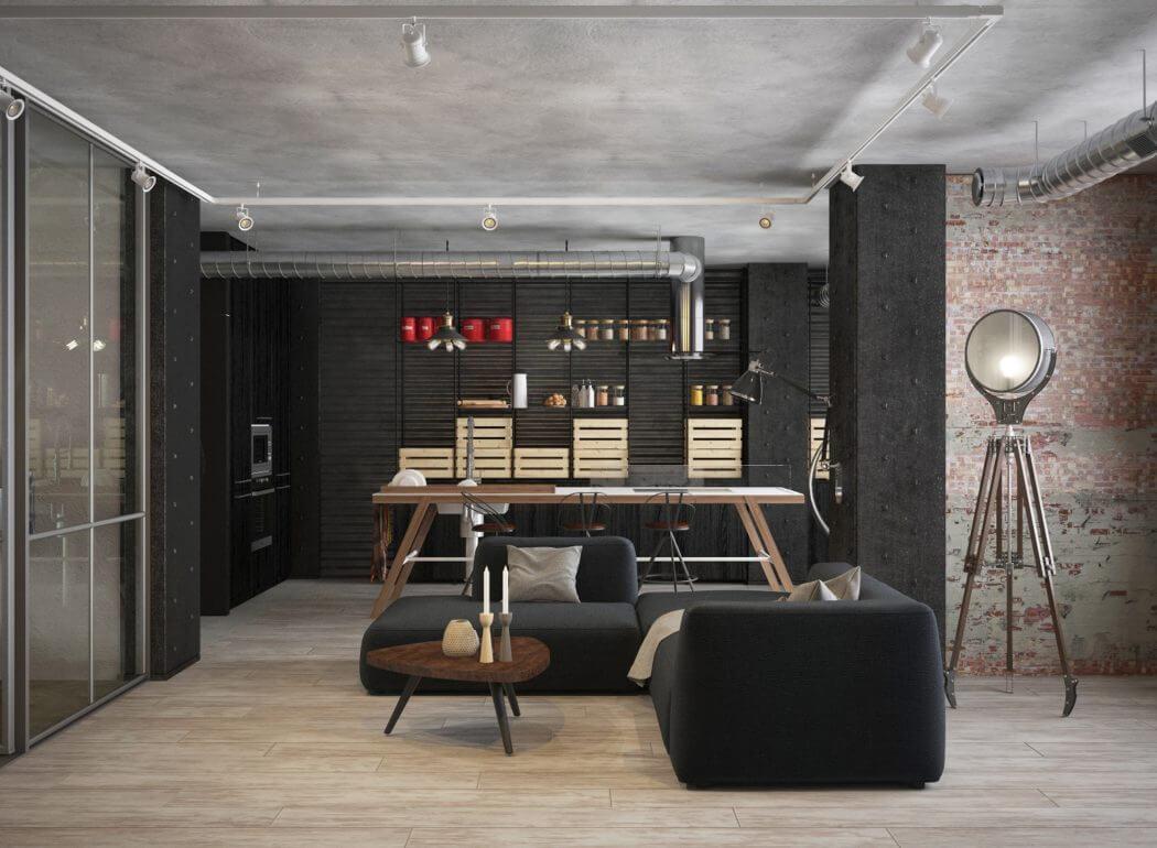 Stoer interieurontwerp van een industriële woonkamer