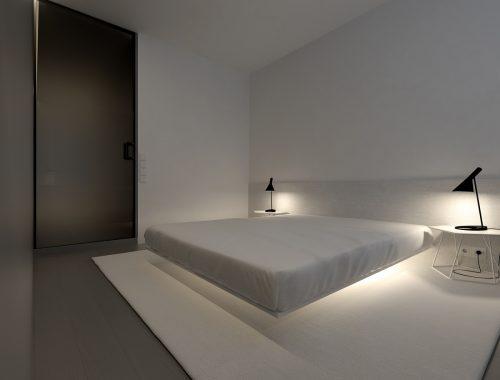 Super strakke minimalistische slaapkamer