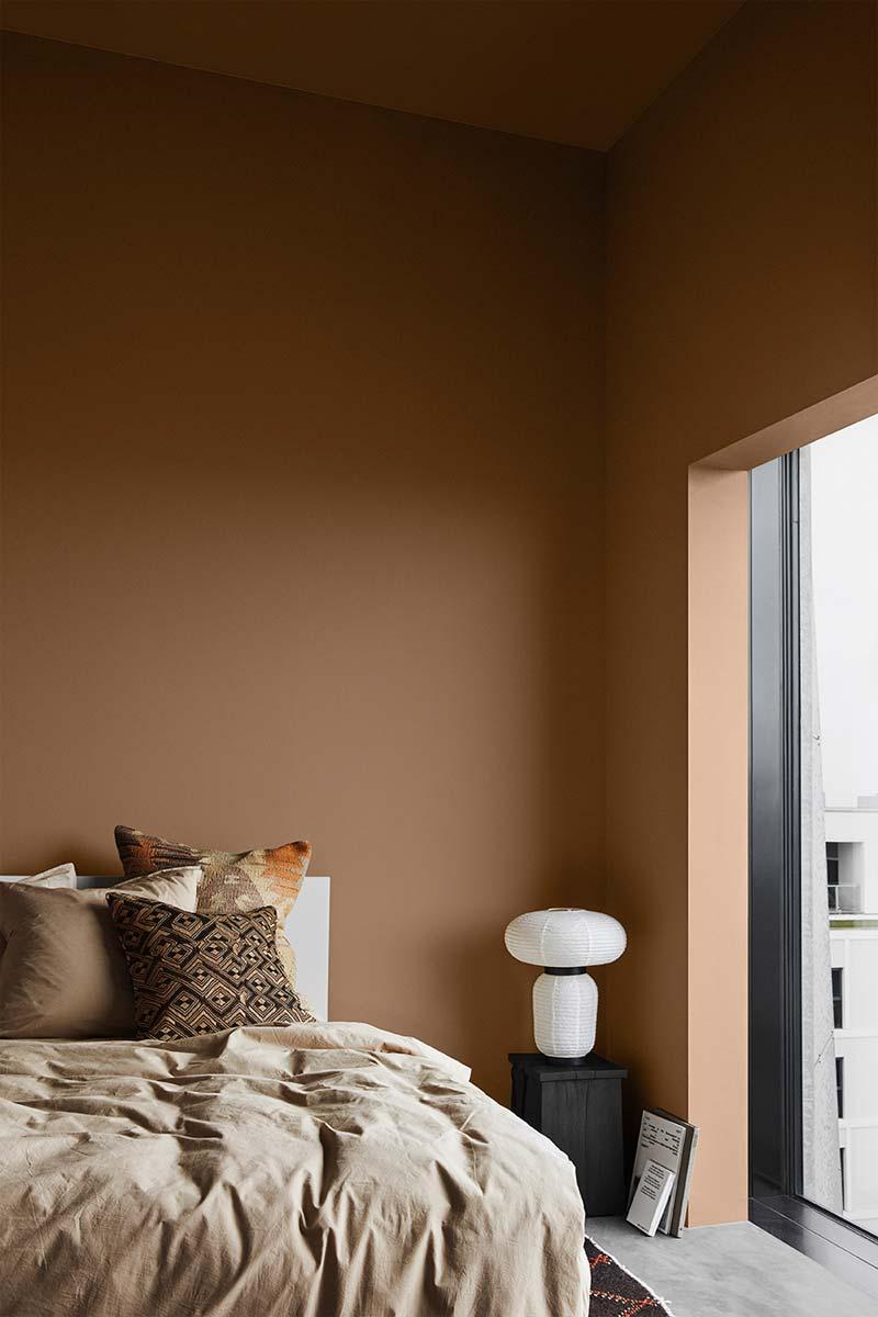 terracotta muurkleur slaapkamer