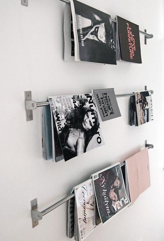tijdschriften opbergen inspiratie handdoekenrek