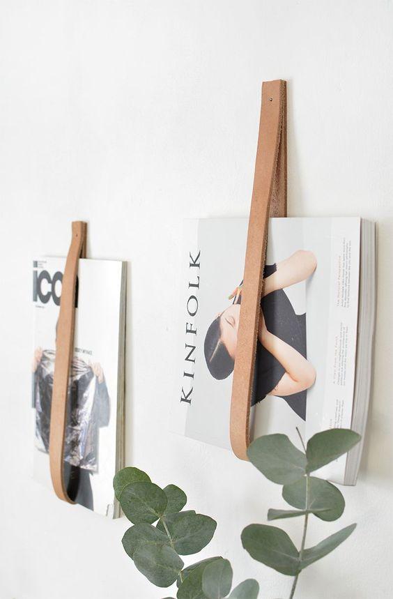 tijdschriften opbergen inspiratie leren-straps