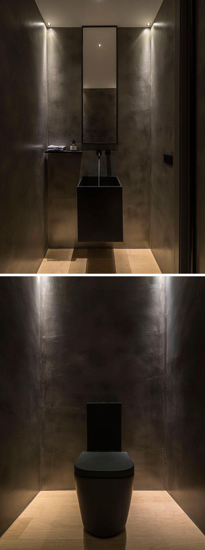 toilet inspiratie houten vloer-zwarte betonstuc