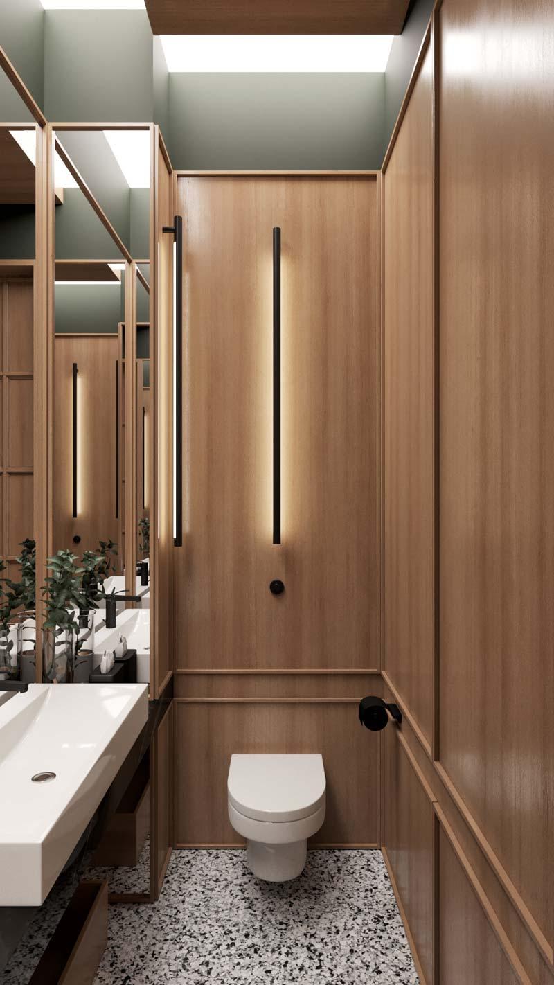 toilet inspiratie houten wandbekleding terrazzo vloer