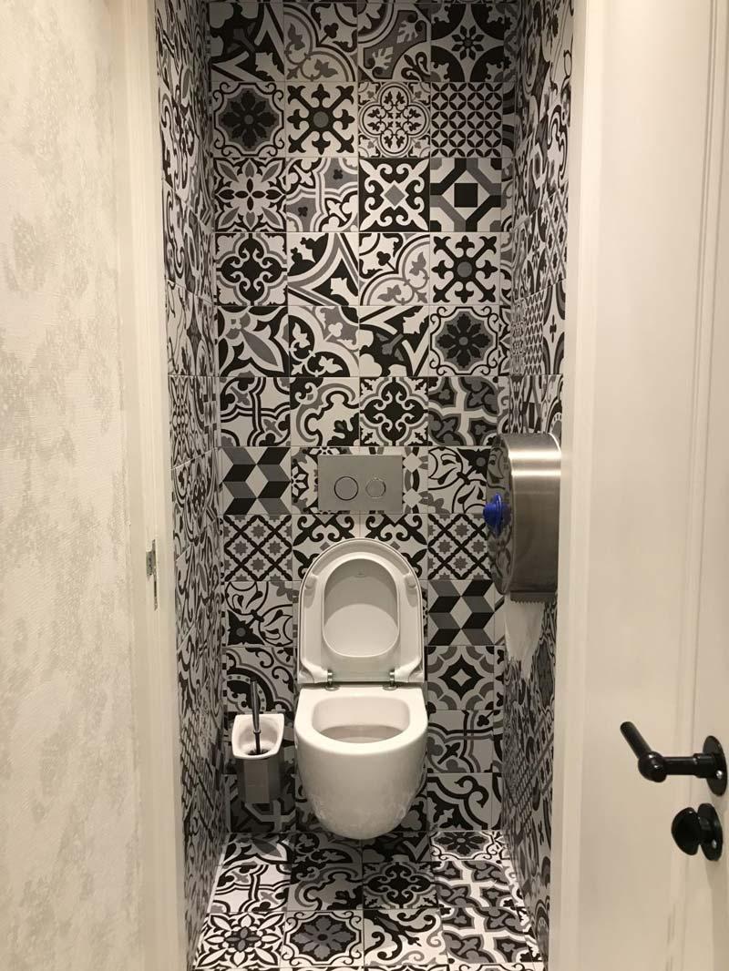 toilet inspiratie patchwork-patroontegels