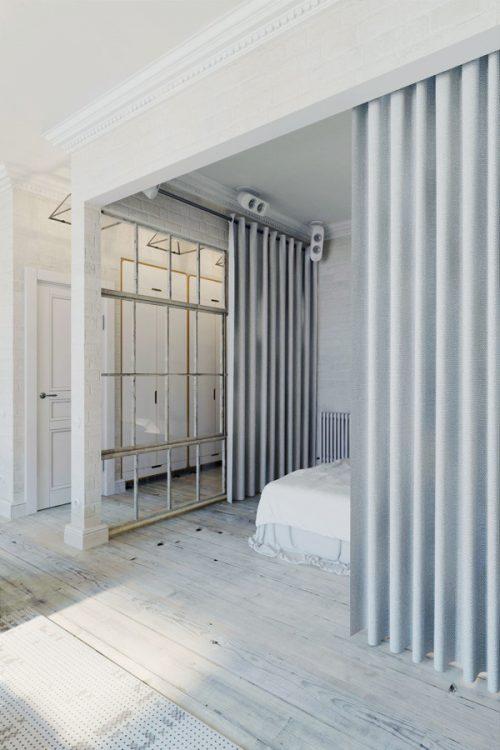 Transparante stoere loft slaapkamer