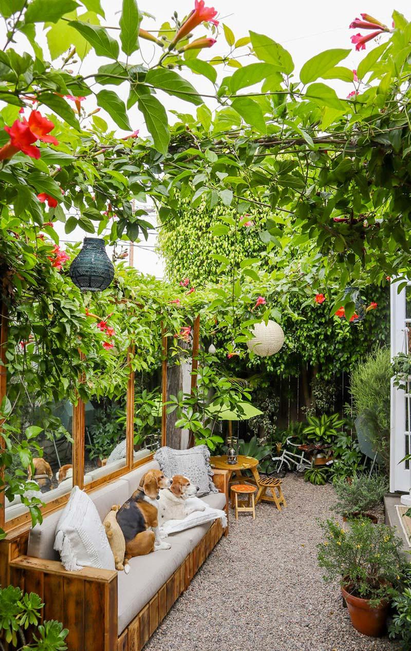 tuinspiegel boven bank