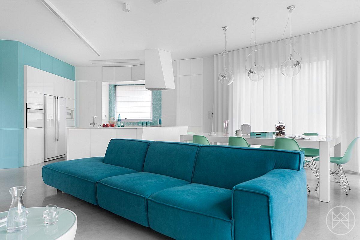 turquoise-blauwe-bank