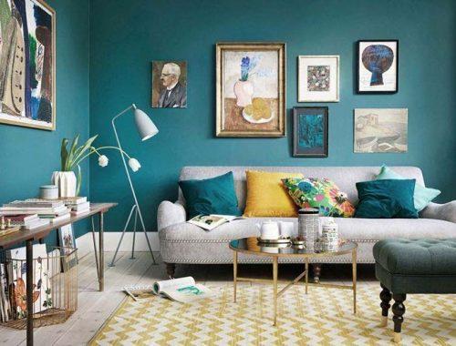 turquoise kleur muur woonkamer