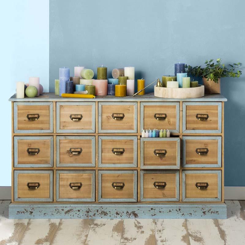 vintage apothekerskast xenos blauw