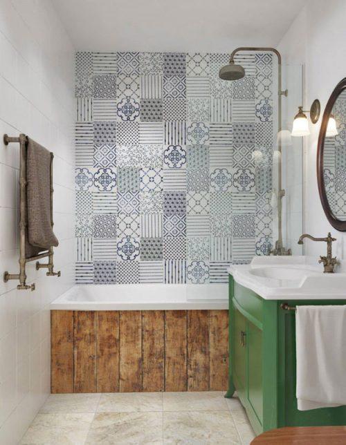 vintage badkamers voorbeelden houten wandbekleding