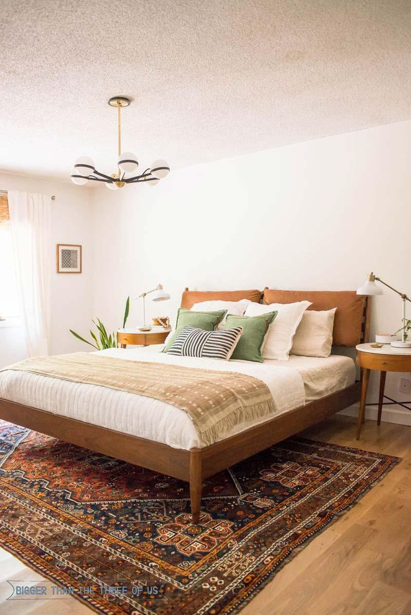 vintage vloerkleed onder bed