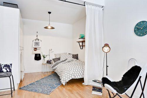 Volwaardige slaapkamer in een studio appartement van 38m2