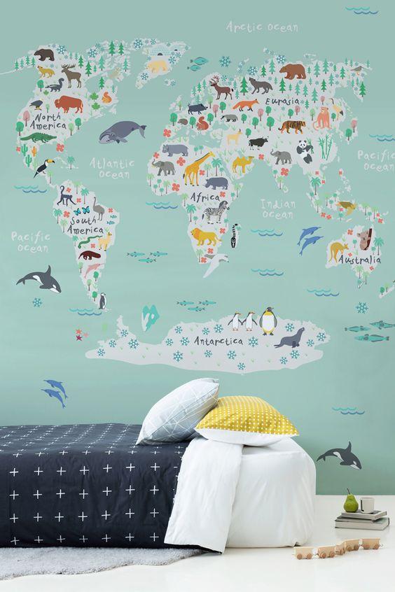 wereldkaart-behang-kinderkamer