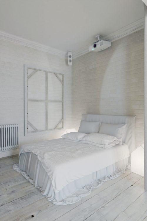 Witte loft slaapkamer