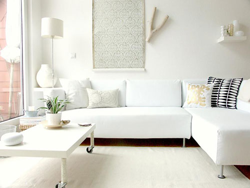 Witte woonkamer ideeen