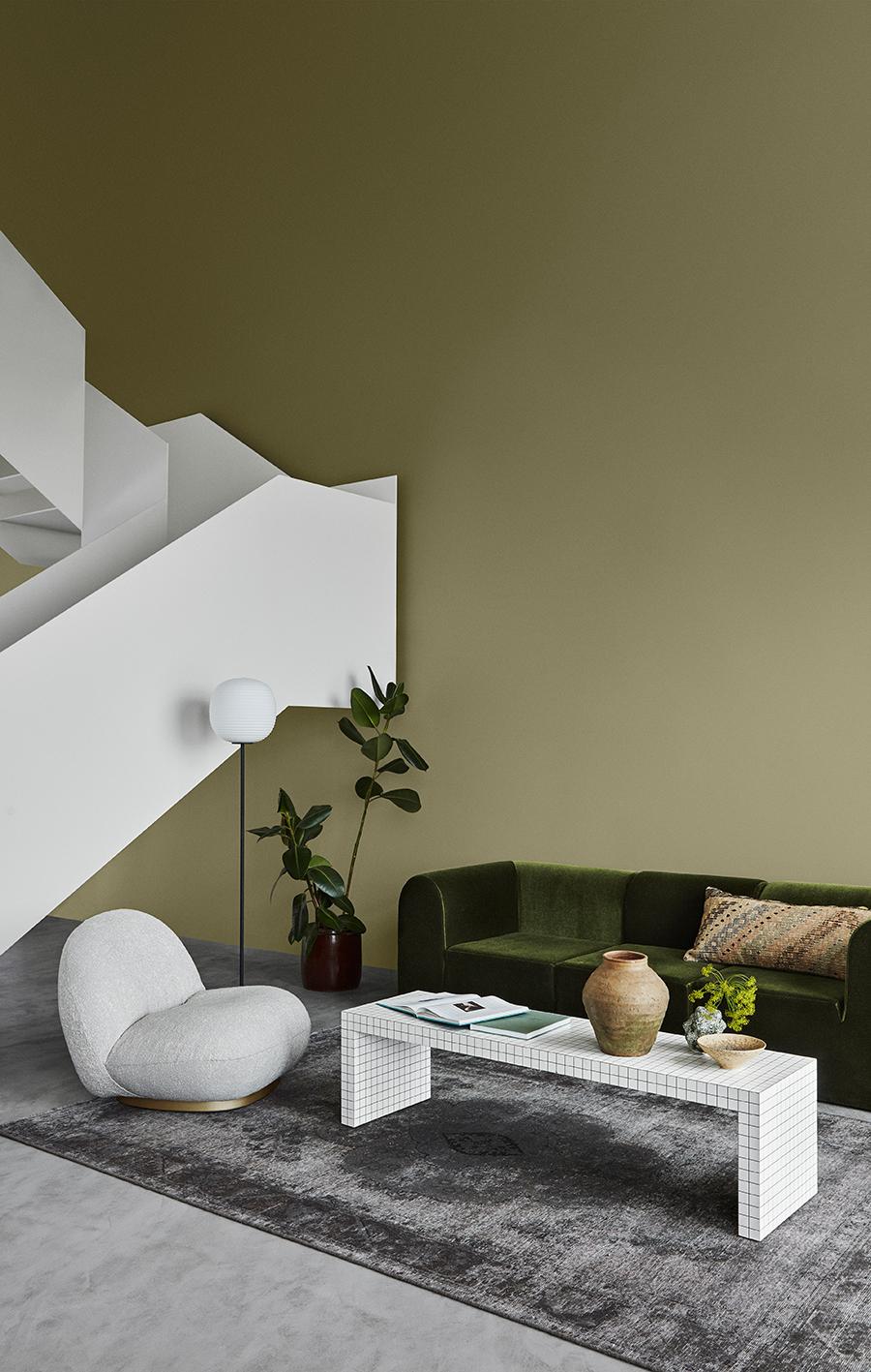 woonkamer groene muur jotun